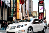 The Chevrolet Volt electric vehicle with extended range capabilities drives through Times Square in New York as part of the Volt Unplugged Tour Sunday, November 7, 2010. (Photo by Emile Wamsteker for Chevrolet)