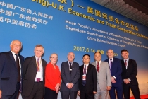 14/06/2017  London UK. Guangdong Economic Conference, from left: Arthur Whiteside, MD- Sales ADL,Tim Jackson, CEO RATP Dev UK and Ireland, Fiona Taylor, MD RATP Dev London, Leon Daniels, MD Surface Transport Tfl, Wang Chuanfu, Chairman BYD, Isbrand Ho, MD BYD Europe, Richard Shillingford, Engineering Director RATP Dev London and Frank Thorpe, UK Country Manager BYD. Photo: Professional Images/@ProfImages