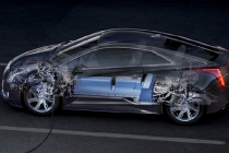 This rendering displays the battery and propulsion system technology found in the 2014 Cadillac ELR.