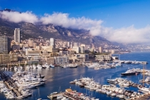 Panoramic view of the harbour and marina of Monte Carlo, Monaco