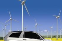 Windkrafträder in einem Rapsfeld, Offshorepark zur Energieerzeugung