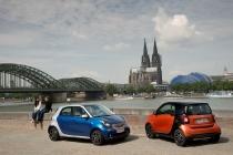 smart fortwo 66 kW, bodypanels lava orange + smart forfour 66 kW ,bodypanels  midnight blue