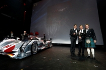 Head of Audi Motorsport Dr. Wolfgang Ullrich, Audi R18 e-tron quattro, Loïc Duval (F), Tom Kristensen (DK), Allan McNish (GB)