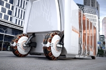 Wheels and tyres with their own power source that attach and detach according to the weight of the vehicle. It is an autonomous bus concept (Driverless Public Transportation) that has an applied Self-Contained Drone concept.