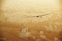 Muscat, Oman, March 10, 2015: Swiss explorers Bertrand Piccard and André Borschberg launch their attempt at flying Round-The-World in a solar-powered airplane. Their experimental aircraft, Solar Impulse 2 took-off from Abu Dhabi (UAE) with André Borschberg at the controls direction Muscat (Oman) where the plane made a pit stop of several hours in order to change pilot before continuing its route towards Ahmedabad (India) with Bertrand Piccard at the controls. The First Round-the-World Solar Flight will take 500 flight hours and cover 35'000 km, taking five months to complete. Swiss founders and pilots, hope to demonstrate how pioneering spirit, innovation and clean technologies can change the world. The duo will take turns flying Solar Impulse 2, changing at each stop and will fly over the Arabian Sea, to India, to Myanmar, to China, across the Pacific Ocean, to the United States, over the Atlantic Ocean to Southern Europe or Northern Africa before finishing the journey by returning to the initial departure point. Landings will be made every few days to switch pilots and organize public events for governments, schools and universities.