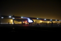 """Solar Impulse 2"", a solar-powered airplane piloted by Bertrant Piccard from Switzerland lands in Ahmedabad in India on Tuesday March 10, 2015, during its historic round-the-world journey finishing the second leg of the journey from Muscat in Oman. With his 15:20 hours flight he set a new world record for solar distance flight with 1486 kilometers. The trip continues on Sunday"
