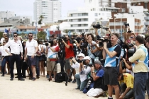 2014 Formula E Punta Del Este e-Prix, UruguayFriday 12 December 2014.Media attend the driver shootPhoto: Sam Bloxham/LAT/Formula Eref: Digital Image _G7C4327