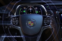 Cadillac ELR's paddle shifters enable the driver to temporarily regenerate energy and store it as electricity in the battery pack for later use. The ELR is Cadillac's first electric-powered vehicle and goes on sale in early 2014.