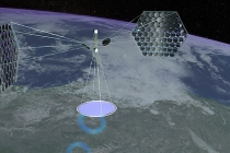 This digital rendition provided by Mafic Studios, Inc. shows a possible design proposal for Spaced Based Solar Power. A Pentagon report in October endorsed further study of the possibility of huge space satellites collecting power via solar panels and beaming it back to Earth. (AP Photo/Mafic Studios, Inc.) **EDITORIAL USE ONLY, NO SALES**