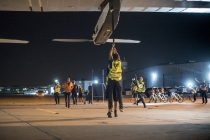 Phoenix, Arizona, USA, May 2nd 2016: Solar Impulse successfully landed in Phoenix, Arizona with André Borschberg at the controls, completing the 10th leg of the round-the-world journey. Departed from Abu Dhabi on march 9th 2015, the Round-the-World Solar Flight will take 500 flight hours and cover 35'000 km. Swiss founders and pilots, Bertrand Piccard and André Borschberg hope to demonstrate how pioneering spirit, innovation and clean technologies can change the world. The duo will take turns flying Solar Impulse 2, changing at each stop and will fly over the Arabian Sea, to India, to Myanmar, to China, across the Pacific Ocean, to the United States, over the Atlantic Ocean to Southern Europe or Northern Africa before finishing the journey by returning to the initial departure point. Landings will be made every few days to switch pilots and organize public events for governments, schools and universities.