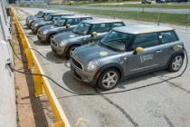 University of Delaware Vehicle to Grid (V2G) cars parked at the Science, Technology, and Advanced Research (STAR) Campus. 15 V2G vehicles act as a mini power plant, drawing energy during off-peak times and delivering it back to the grid when it's most needed. In partnership with NRG Energy Inc., the University has created the world's first revenue-generating vehicle-to-grid project using technology developed by Professor Willett Kempton of UD's College of Earth, Ocean, and Environment.