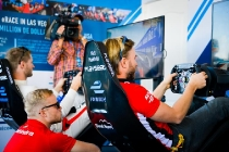 | Photographer: Marta Rovatti Studihrad| Event: Marrakesh ePrix| Circuit: CIRCUIT INTERNATIONAL AUTOMOBILE MOULAY EL HASSAN| Location: Marrakesh| Series: FIA Formula E| Season: 2016-2017| Country: MA|| Session: Race||Driver: Felix Rosenqvist| Team: Mahindra Racing| Number: 19| Car: M3 Electro||Driver: Nick Heidfeld| Team: Mahindra Racing| Number: 23| Car: M3 Electro|