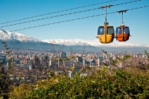 Cable car in San Cristobal hill, overlooking a panoramic view of Santiago de Chile