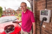 Electric Nation Participant with his smart Charger and Nissan Leaf Electric car June 15th, 2017 Nottingham
