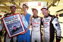 Pole position for Stephane Sarrazin (FRA)  Kamui Kobayashi (JPN)  and Mike Conway (GBR)  TOYOTA GAZOO  Racing.  Le Mans 24 Hours Race, 12th to 18th June 2017 Circuit de la Sarthe, Le Mans, France.