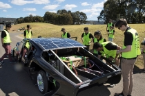 UNSW Sunswift team 2017, with their new car Violet, testing at International Rowing Centre, Penrith. Photography by Quentin Jones. 1 Sept 2017.