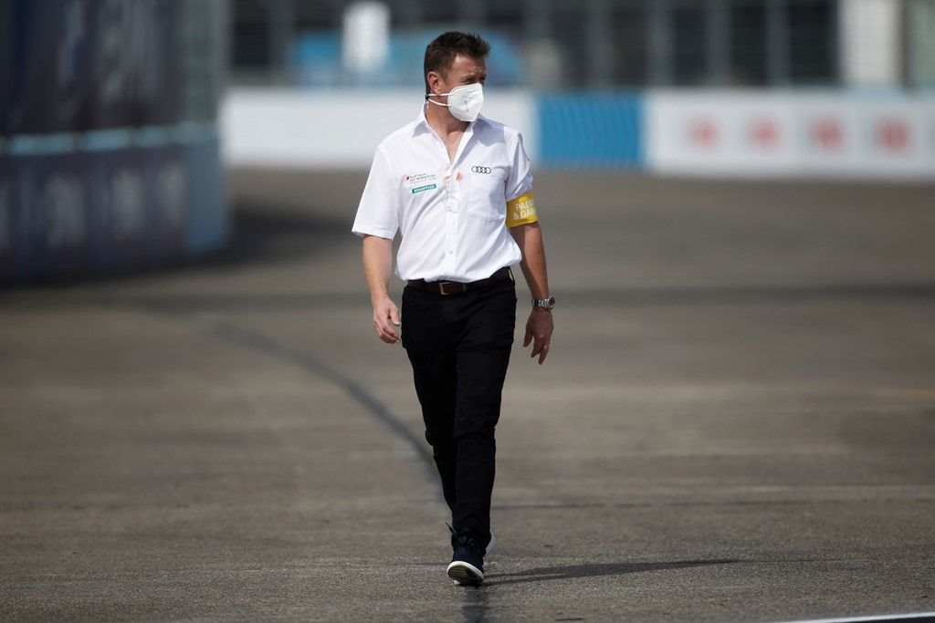 Allan McNish, Team Principal, Audi Sport Abt Schaeffler, walks the track