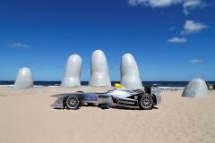 FIA Formula E Test Day. Formula E Car on the beach. Punta Del Este, Uruguay, South America. Formula E Third Race Event, 11th - 14th December 2014. Sunday 14 December 2014. Photo: Adam Warner/LAT/FE ref: Digital Image _L5R4964