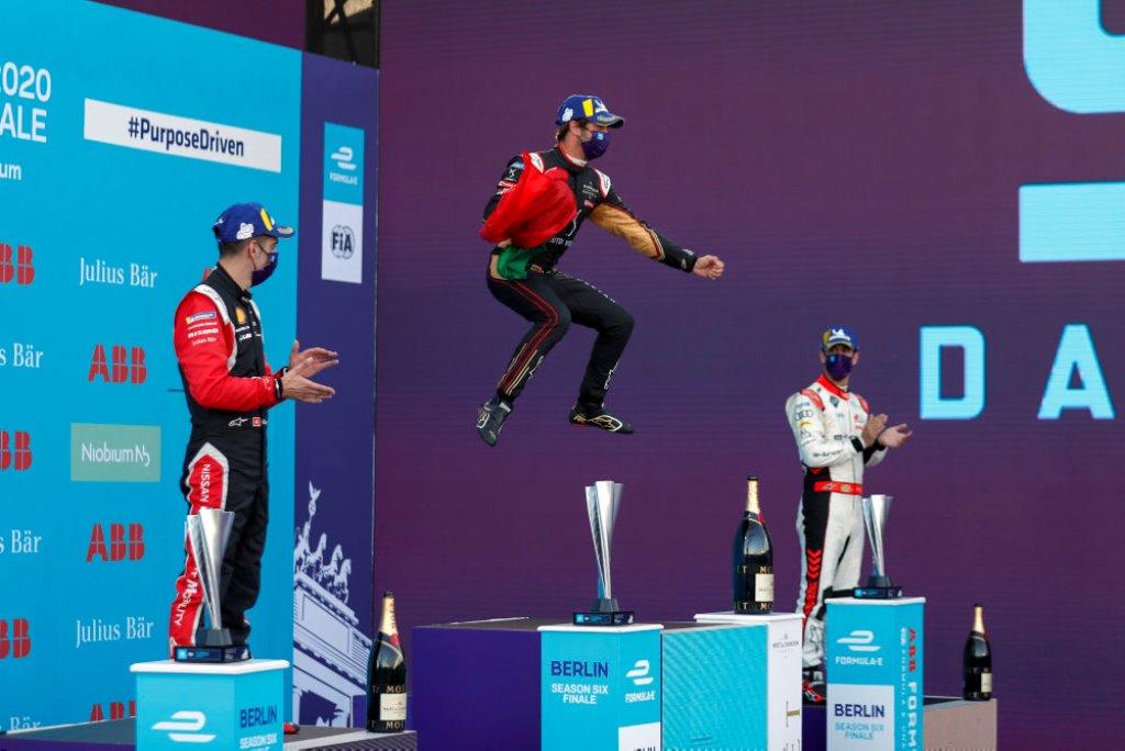 Antonio Félix da Costa (PRT), DS Techeetah, 1st position, jumps on the podium