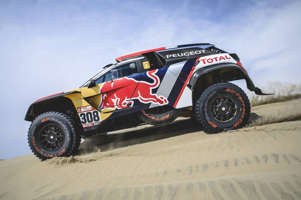 Cyril Despres (FRA) of Team Peugeot TOTAL races during stage 1 of Rally Dakar 2018 from Lima to Pisco, Peru on January 6, 2018. // Flavien Duhamel/Red Bull Content Pool // P-20180107-00019 // Usage for editorial use only // Please go to www.redbullcontentpool.com for further information. //