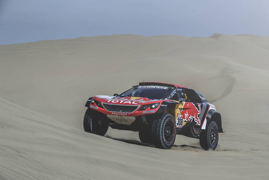Cyril Despres (FRA) of Team Peugeot TOTAL races during stage 1 of Rally Dakar 2018 from Lima to Pisco, Peru on January 6, 2018. // Flavien Duhamel/Red Bull Content Pool // P-20180107-00022 // Usage for editorial use only // Please go to www.redbullcontentpool.com for further information. //