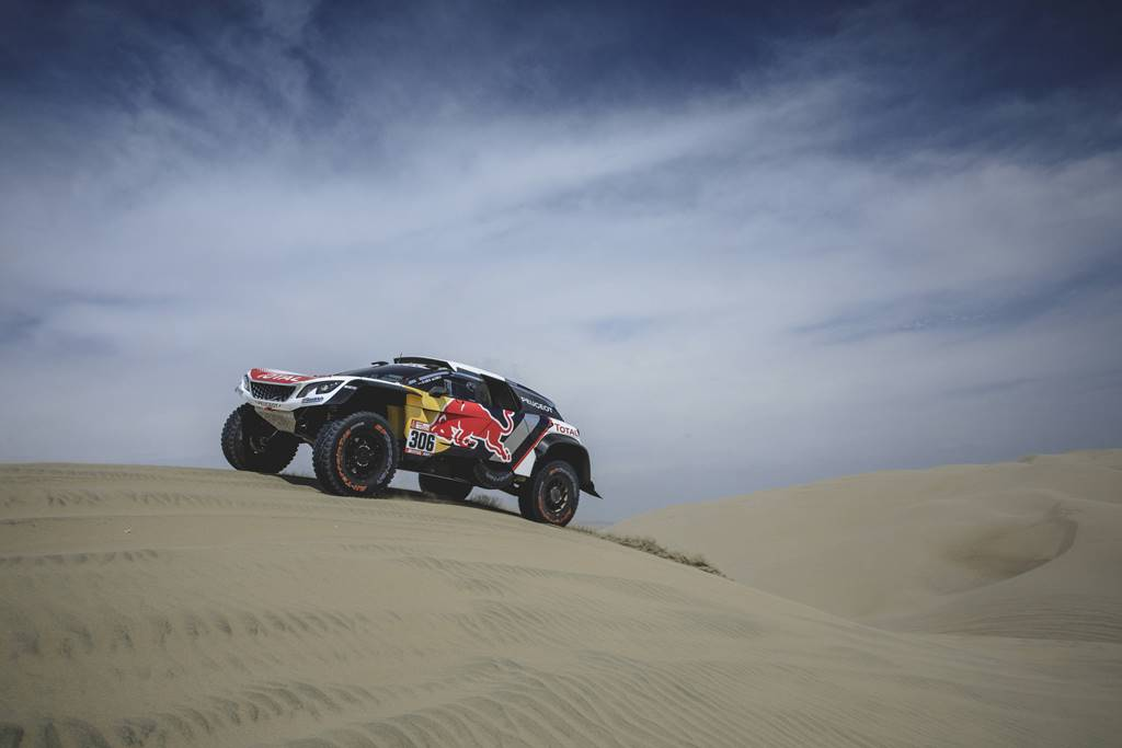 Sebastien Loeb (FRA) of Team Peugeot TOTAL races during stage 1 of Rally Dakar 2018 from Lima to Pisco, Peru on January 6, 2018. // Flavien Duhamel/Red Bull Content Pool // P-20180107-00028 // Usage for editorial use only // Please go to www.redbullcontentpool.com for further information. //