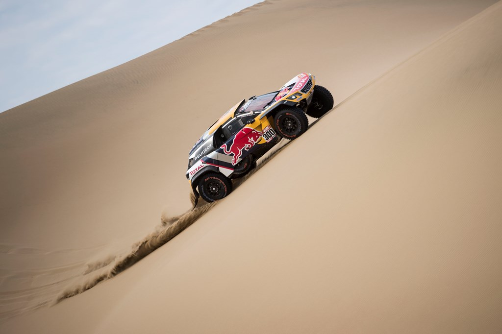 Stephane Peterhansel (FRA) of Team Peugeot Total races during stage 02 of Rally Dakar 2018 from Pisco to Pisco on January 7, 2018