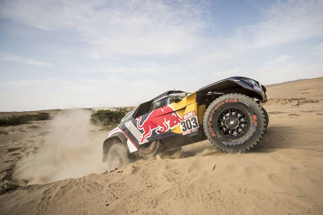 Carlos Sainz (ESP) of Team Peugeot Total races during stage 05 of Rally Dakar 2018 from Marcona, to Arequipa, Peru January 10, 2018 // Marcelo Maragni/Red Bull Content Pool // P-20180110-01289 // Usage for editorial use only // Please go to www.redbullcontentpool.com for further information. //