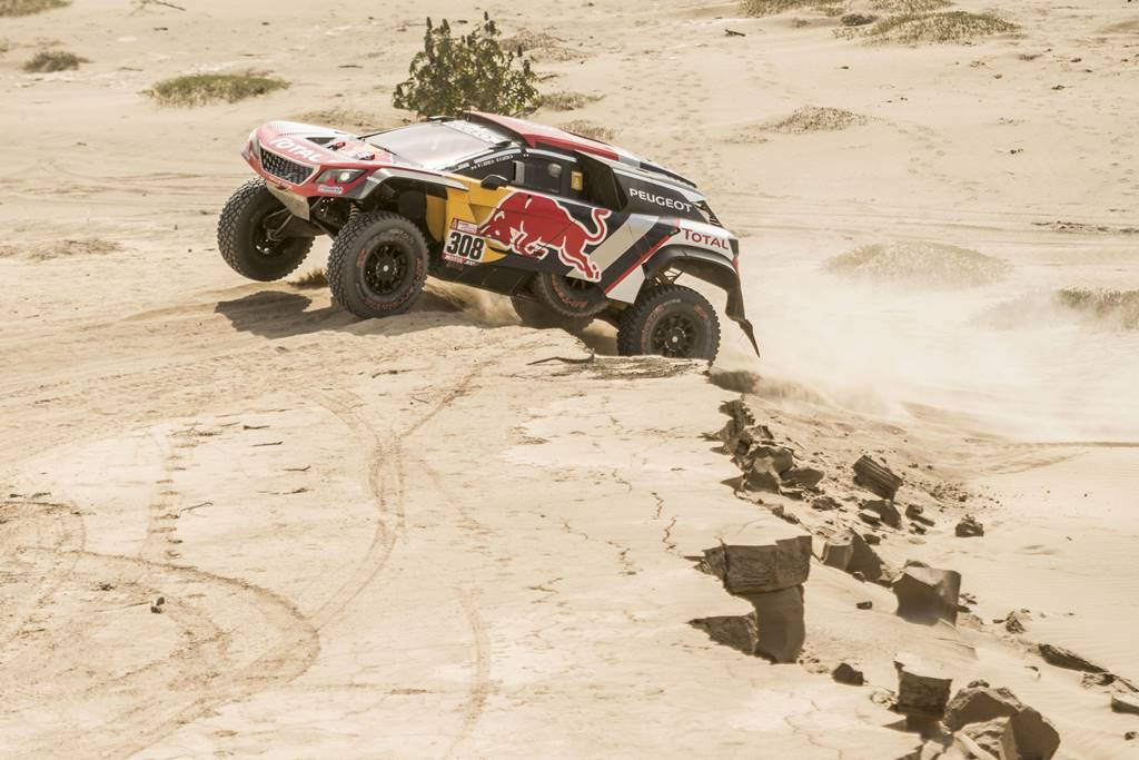 Cyril Despres (FRA) of Team Peugeot Total races during stage 05 of Rally Dakar 2018 from Marcona, to Arequipa, Peru January 10, 2018 // Marcelo Maragni/Red Bull Content Pool // P-20180110-01253 // Usage for editorial use only // Please go to www.redbullcontentpool.com for further information. //