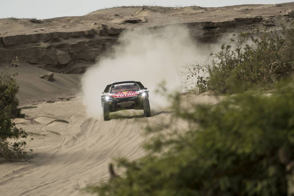 Carlos Sainz (ESP) of Team Peugeot Total races during stage 05 of Rally Dakar 2018 from Marcona, to Arequipa, Peru January 10, 2018 // Marcelo Maragni/Red Bull Content Pool // P-20180110-01286 // Usage for editorial use only // Please go to www.redbullcontentpool.com for further information. //