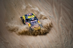 Sebastien Loeb and Daniel Elena in the Peugeot 3008 of the PH-Sport going down a dune during stage 1 of the Dakar Rally, between Lima and Pisco, Peru, on January 7, 2019. // Eric Vargiolu / DPPI / Red Bull Content Pool // AP-1Y2EHN7512111 // Usage for editorial use only // Please go to www.redbullcontentpool.com for further information. //