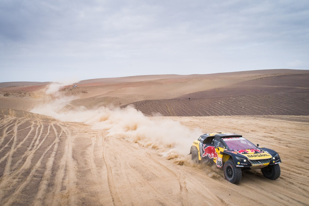 Sebastien Loeb and Daniel Elena in the Peugeot 3008 of the PH-Sport navigating in the dust during stage 3 of the Dakar Rally, between San Juan de Marcona and Arequipa, Peru, on January 9, 2019.