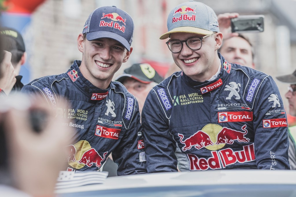 Timmy and Kevin Hansen  during the parade of the FIA World Rallycross Championship 2018 in Loheac, France on August 31, 2018 // Flavien Duhamel/Red Bull Content Pool // AP-1WRUAJ45D2111 // Usage for editorial use only // Please go to www.redbullcontentpool.com for further information. //