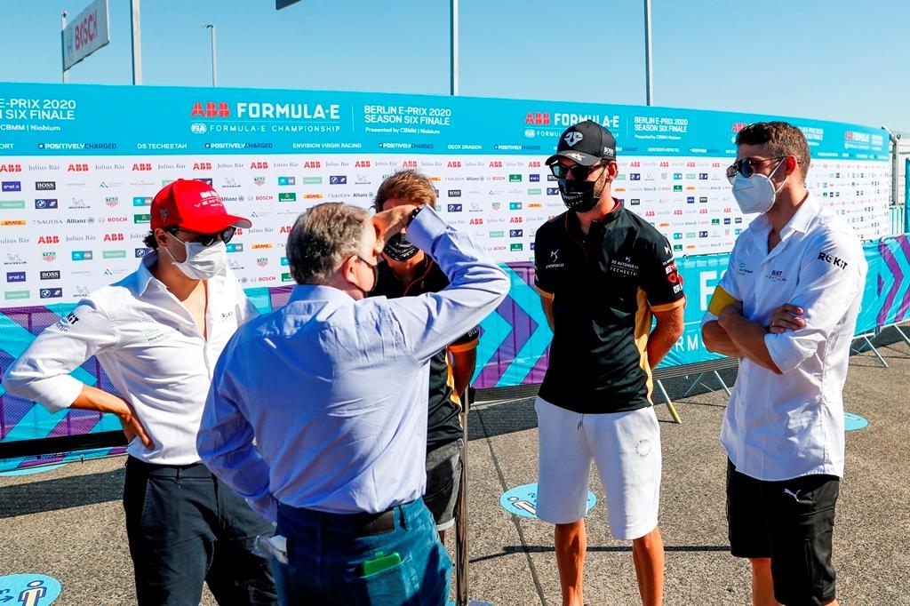 Jean Todt, FIA President, talks to Felipe Massa (BRA), Venturi, Antonio Félix da Costa (PRT), DS Techeetah, Jean-Eric Vergne (FRA), DS Techeetah, and Edoardo Mortara (CHE) Venturi