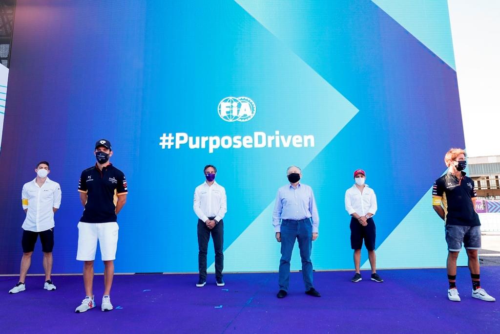 Jean Todt, FIA President and Jamie Reigle, CEO of Formula E with Edoardo Mortara (CHE) Venturi, Jean-Eric Vergne (FRA), DS Techeetah, Felipe Massa (BRA), Venturi and Antonio Félix da Costa (PRT), DS Techeetah