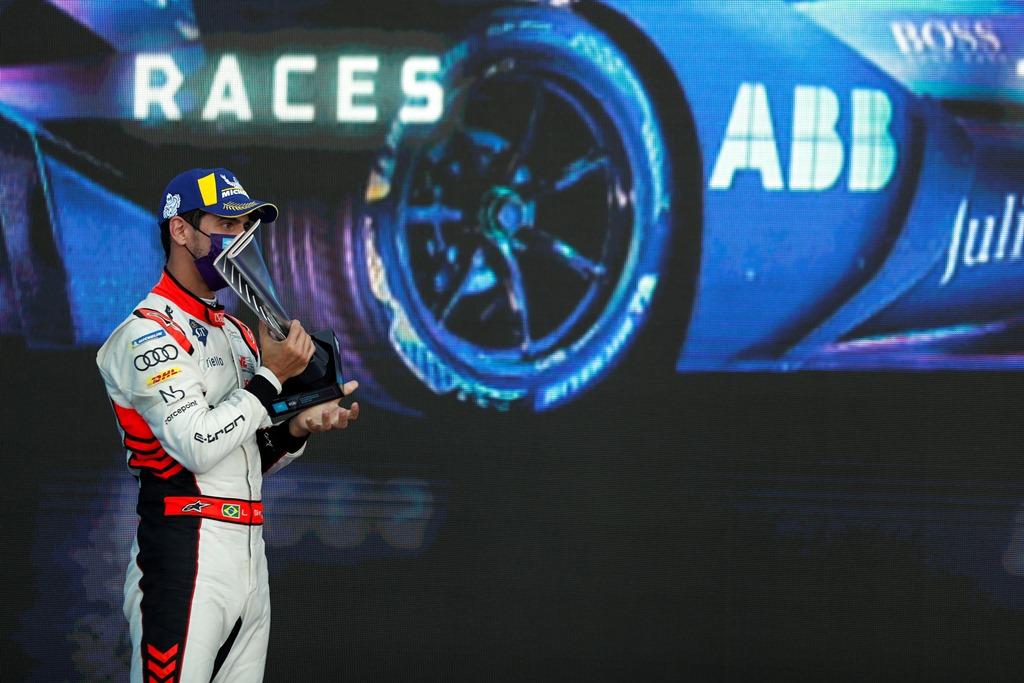 Lucas Di Grassi (BRA), Audi Sport ABT Schaeffler, 3rd position, with his trophy on the podium