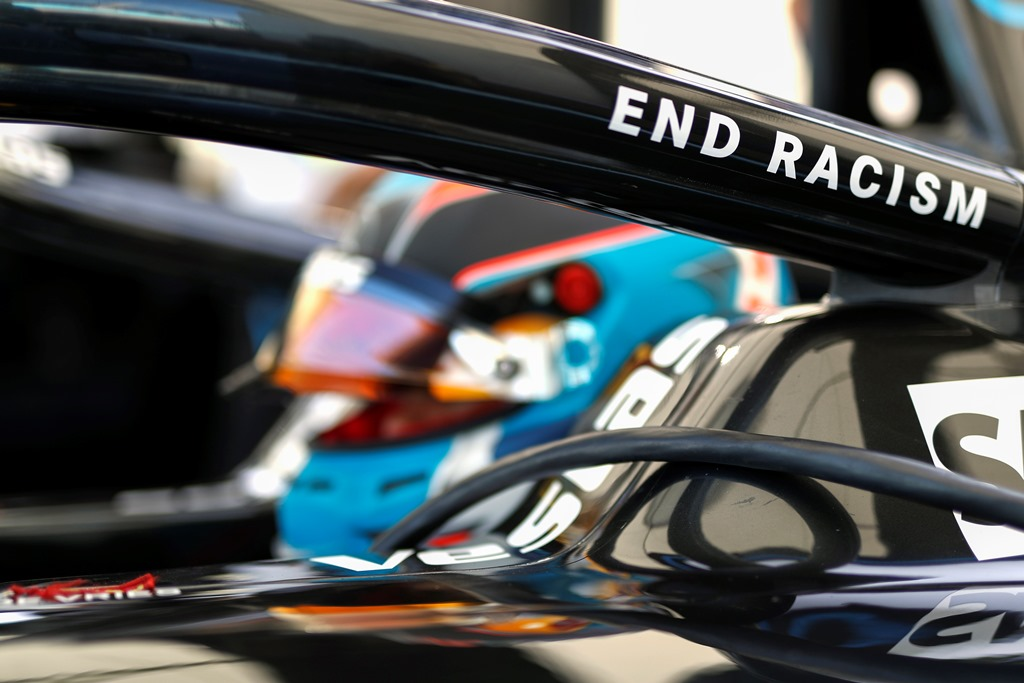 The End Racism message on Nyck de Vries' (NLD), Mercedes Benz EQ, EQ Silver Arrow 01
