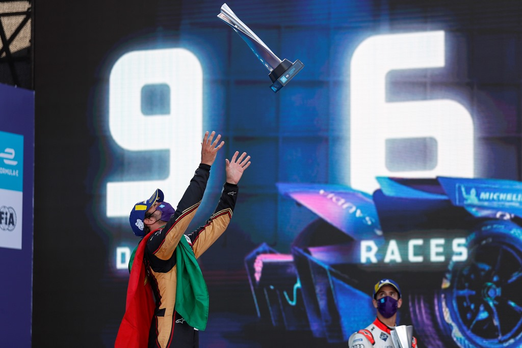 Antonio Félix da Costa (PRT), DS Techeetah, 1st position, throws his trophy in the air on the podium