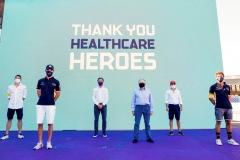 Jean Todt, FIA President and Jamie Reigle, CEO of Formula E thank healthcare workers with Edoardo Mortara (CHE) Venturi, Felipe Massa (BRA), Venturi Jean-Eric Vergne (FRA), DS Techeetah and Antonio Félix da Costa (PRT), DS Techeetah