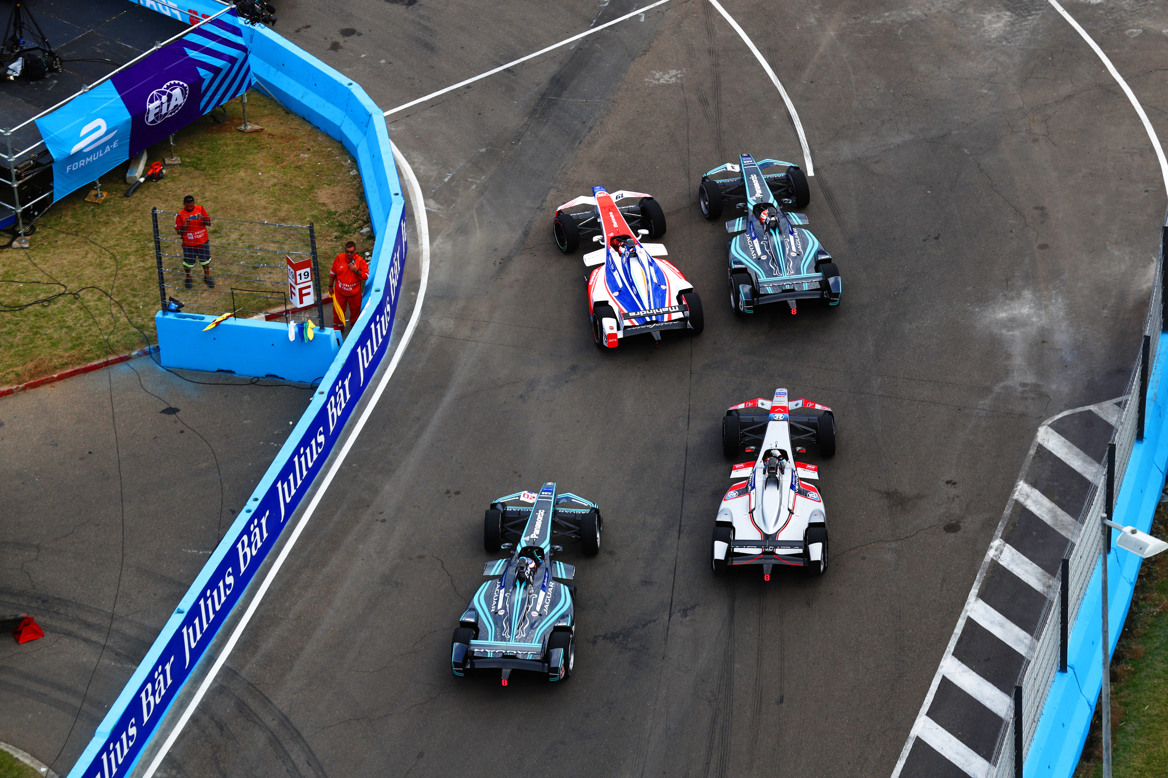 Felix Rosenqvist (SWE), Mahindra Racing, Mahindra M4Electro, Nelson Piquet Jr. (BRA), Panasonic Jaguar Racing, Jaguar I-Type II,Mitch Evans (NZL), Panasonic Jaguar Racing, Jaguar I-Type II, and Maro Engel (GER), Venturi Formula E, Venturi VM200-FE-03.
