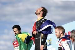 Jean-Eric Vergne (FRA), TECHEETAH, Renault Z.E. 17, celebrates on the podium with Lucas Di Grassi (BRA), Audi Sport ABT Schaeffler, Audi e-tron FE04, and Sam Bird (GBR), DS Virgin Racing, DS Virgin DSV-03.