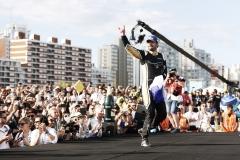 Jean-Eric Vergne (FRA), TECHEETAH, Renault Z.E. 17, celebrates on the podium.