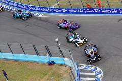 Jean-Eric Vergne (FRA), TECHEETAH, Renault Z.E. 17, leads Lucas Di Grassi (BRA), Audi Sport ABT Schaeffler, Audi e-tron FE04, and Alex Lynn (GBR), DS Virgin Racing, DS Virgin DSV-03.