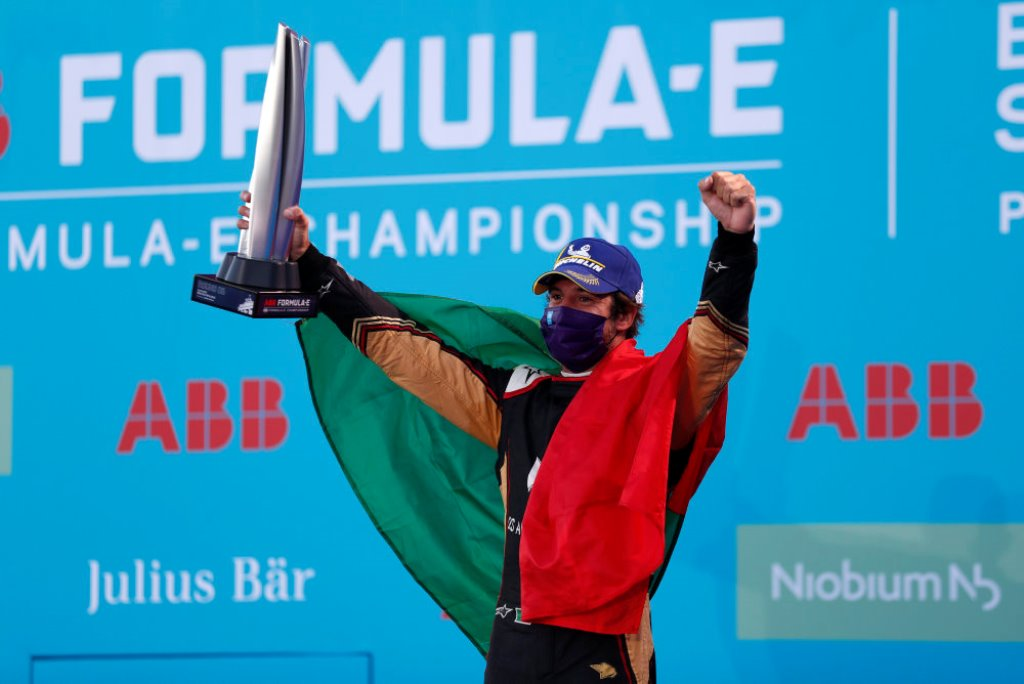 Antonio Felix da Costa (PRT), DS Techeetah celebrates winning the race on the podium