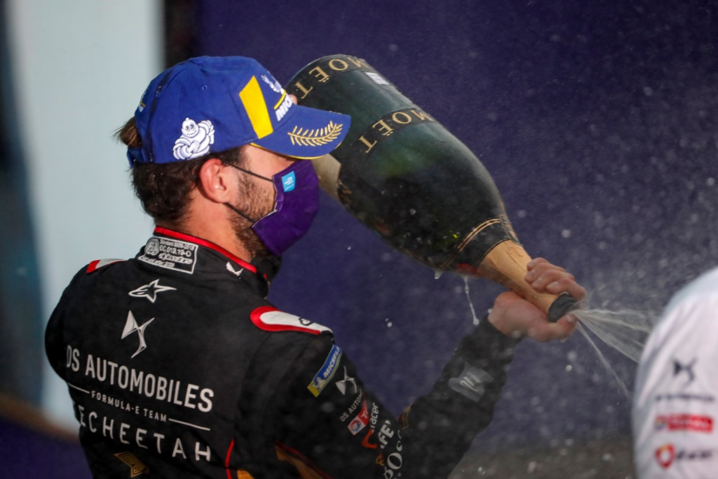 Jean-Eric Vergne (FRA), DS Techeetah, 1st position, sprays the champagne