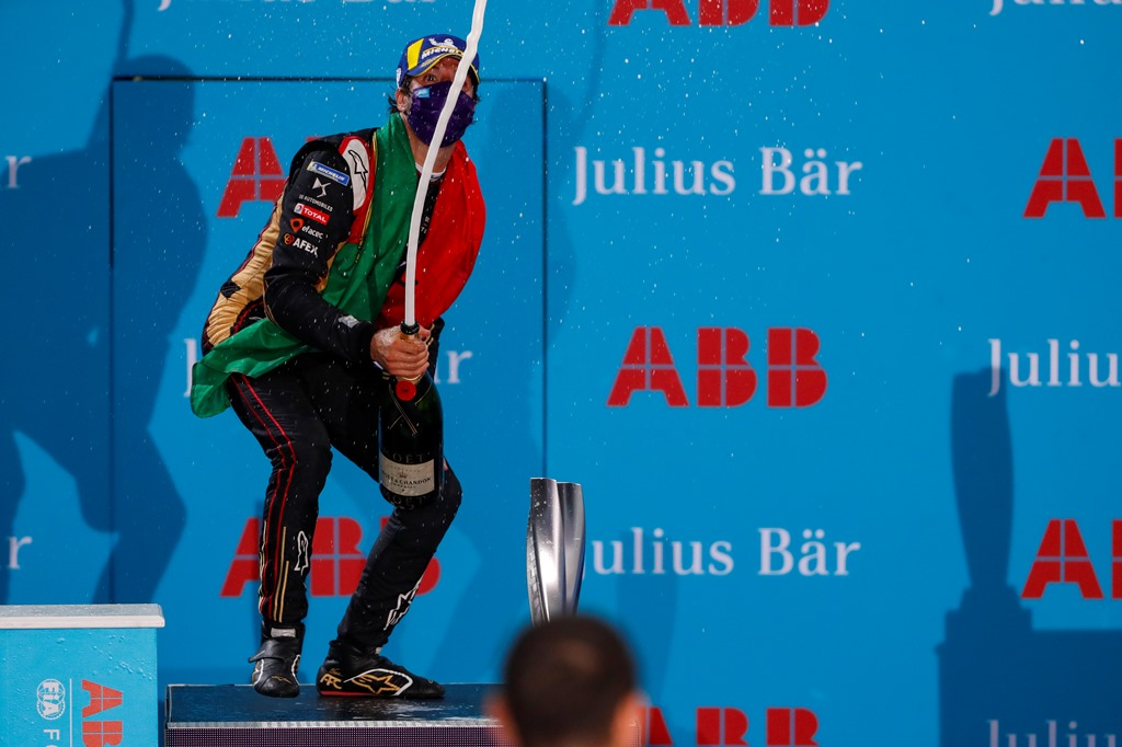 Antonio Félix da Costa (PRT), DS Techeetah, 2nd position, sprays champagne on the podium