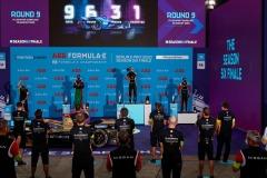 Antonio Félix da Costa (PRT), DS Techeetah, 2nd position, Jean-Eric Vergne (FRA), DS Techeetah, 1st position, and Sébastien Buemi (CHE), Nissan e.Dams, 3rd position, on the podium