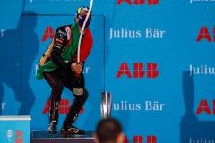 Antonio Félix da Costa (PRT), DS Techeetah, 2nd position, sprays champagne on the podium