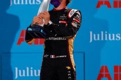 Jean-Eric Vergne (FRA), DS Techeetah, 1st position, kisses his trophy on the podium