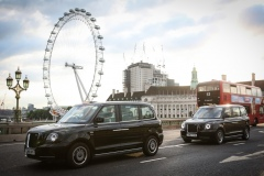 EDITORIAL USE ONLY Four electric LEVC black taxis travel around London as the company announces they have 350 of their vehicles now on UK roads. PRESS ASSOCIATION Photo. Picture date: Monday July 9, 2018. Research from LEVC has revealed that the 350 taxis are expected to annually cover 10.7 million miles, save their owners £1.8m in fuel costs and reduce CO2 emissions from the taxi sector by 2,450 tonnes. Photo credit should read: Matt Alexander/PA Wire